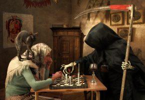 Обои игра, смерть, старушка, коса, кот, таблетки
