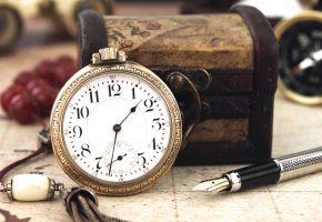 часы, циферблат, шкатулка, ручка, цифры, компас