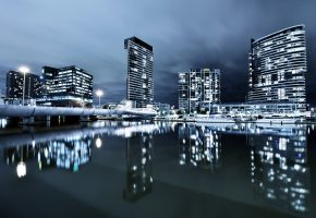 melbourne, город, ночь, вода, яхты, лодки, тучи, небо