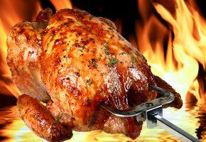 Курица, гриль, огонь, зелень, корочка, ножки