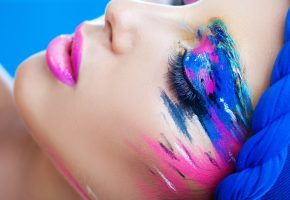 Обои стиль, макияж, тени, краски, ресницы, макияж, губы, закрытые глаза