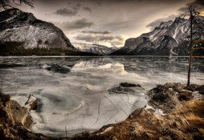 горы, озеро, лед, отражение, дерево, небо