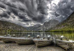 лодки, горы, озеро, тучи, лес