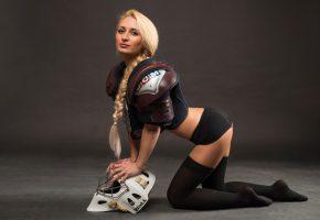 Hockey, cheerleader, форма, хоккей, фигура, коса, девушка, блондинка