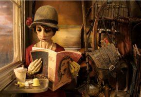 Обои мадам тутли-путли, девушка, журнал, окно, сумка, шляпа