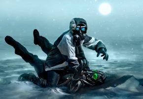 Обои апокалипсис, арт, комикс, противогаз, снег