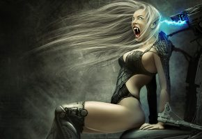 девушка, вампир, клыки, кресло, заряд
