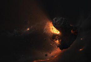 магма, asteroids, core, light, magma, астероид, свет, звезды