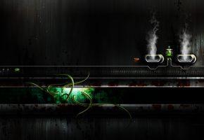 green, щупальцы, пар, арт, 3д, фон