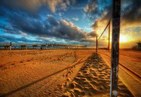 Обои закат, море, пляж, мост