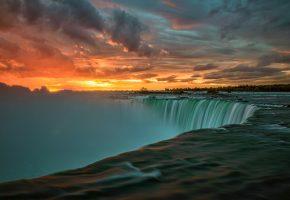канада, река, ниагара, утро, восход
