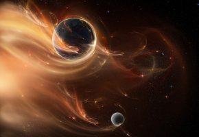 Обои звезды, планета, cosmos, туманность, сияние