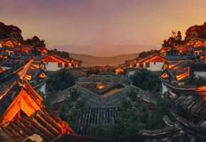 крыша, горы, небо, китай, china