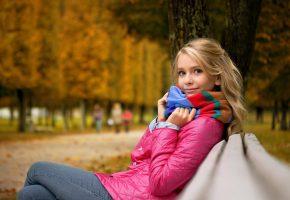 парк, девочка, настроение, осень, улыбка