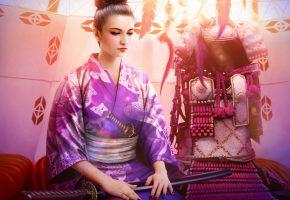 Обои кимоно, девушка, меч, прическа, воин, лицо