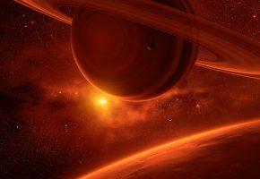 Обои планеты, звезды, кольца, туманность