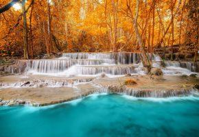 Обои пейзаж, лес, осень, каскады, водопады, озеро