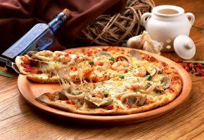 мидии, бутылка, блюдо, корзинка, морепродукты, кальмары, pizza, пицца, специи