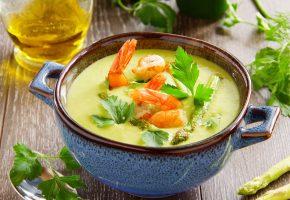 первое блюдо, суп, морепродукты, зелень, креветки
