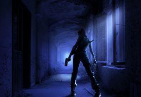 Девушка, коридор, меч, мрачно, ночь, оружие, пистолет, убийца