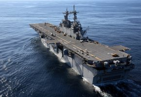 Обои корабль, оружие, взлетная полоса, океан