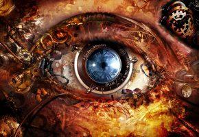 Обои линза, механизм, Глаз, шестеренки, болтики