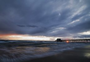 Newport Beach, Stormy Sunset, море, мост