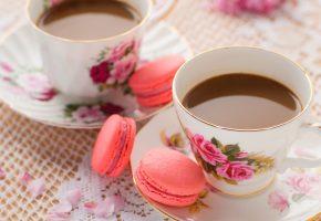 Обои чай, печенье, напиток, чашки, блюдца