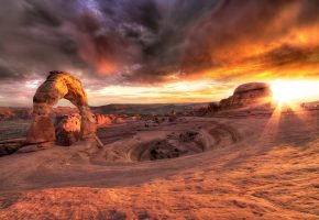 Обои закат, горы, пейзаж, каньон, камни