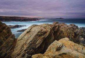 камни, скалы, океан, море, вода, горизонт