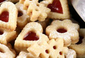 печенье, песочное, сердечко, джем, пудра