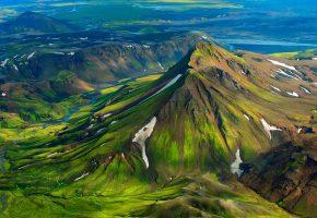Обои горы, вид сверху, река, зелень, пейзаж, ландшафт