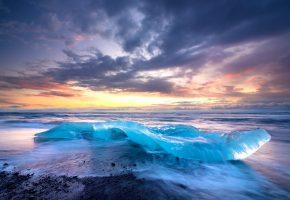 Исландия, небо, облака, море, прибой, берег, лед