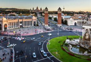 Обои Испания, Барселона, проспект, улицы, дорога, дома, движение