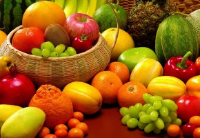Обои фрукты, виноград, апельсин, мандарин, гранат, киви, овощи, перец, дыня, бананы