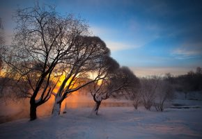 Обои зима, рассвет, солнце, деревья, снег, речка, пар