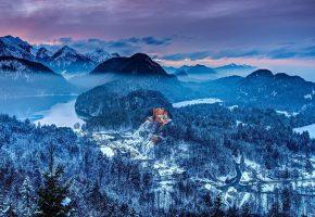 Обои bavaria, germany, winter, castle, зима, замок, деревья