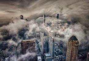 США, город, Чикаго, шторм, туман, тучи
