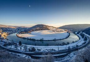 Обои горы, река, дорога, зима, снег
