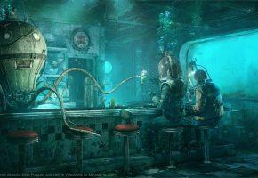 Обои octopus, водолазы, под водой, осьминог, бар, щупальцы