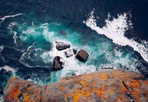 Обои Ирландия, обрыв, море, волны, камни