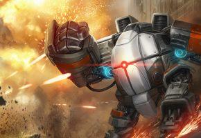 робот, война, метал, снаряды, искры, камни