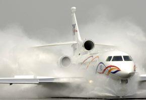 plane, white, falcon900, wings, самолет, брызги, крылья