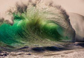 Обои вода, океан, волна, красиво, брызги, песок