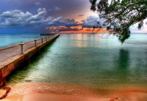 море, пляж, причал, пирс, закат, вечер