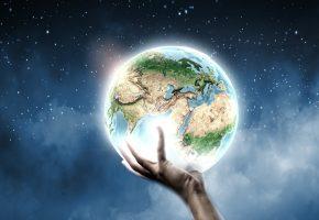 Обои фэнтези, рука, планета, земля, 3д