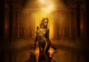 Обои креатив, темный фон, фэнтези, египет, вода, наряд, фигурка