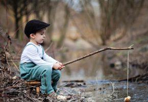 природа, ребенок, мальчик, игра, рыбалка, удочка