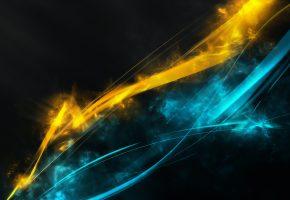 Обои линии, желтый, синий