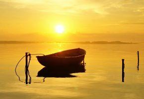 река, лодка, утро, солнце, гладь